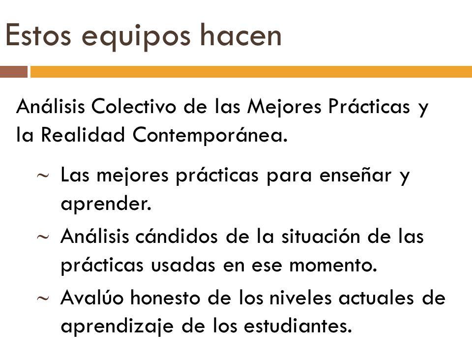 Análisis Colectivo de las Mejores Prácticas y la Realidad Contemporánea. Las mejores prácticas para enseñar y aprender. Análisis cándidos de la situac