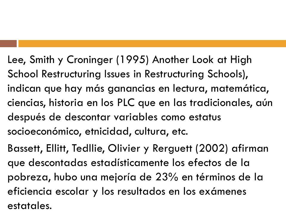 Lee, Smith y Croninger (1995) Another Look at High School Restructuring Issues in Restructuring Schools), indican que hay más ganancias en lectura, ma
