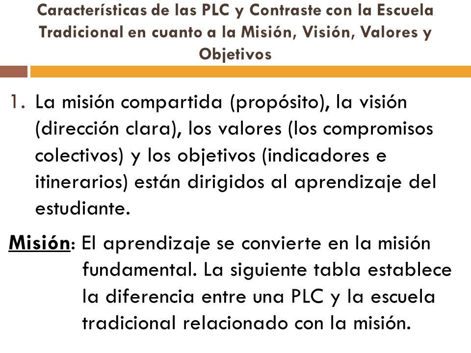 Características de las PLC y Contraste con la Escuela Tradicional en cuanto a la Misión, Visión, Valores y Objetivos 1.La misión compartida (propósito