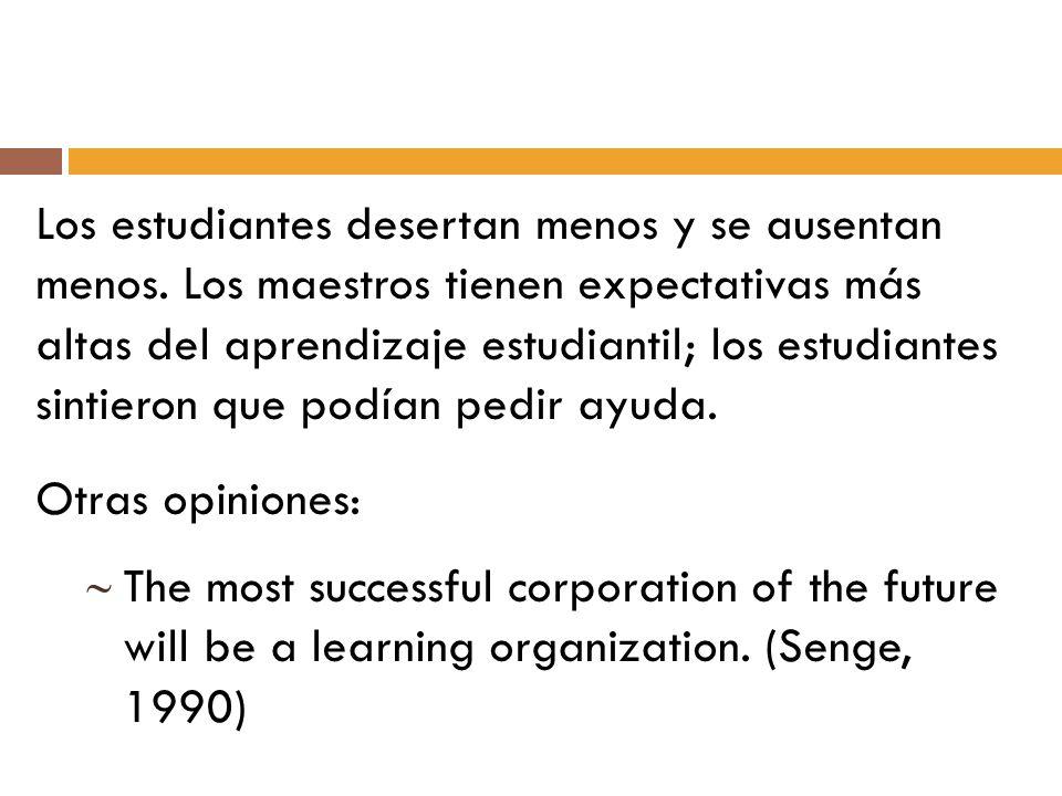 Los estudiantes desertan menos y se ausentan menos. Los maestros tienen expectativas más altas del aprendizaje estudiantil; los estudiantes sintieron