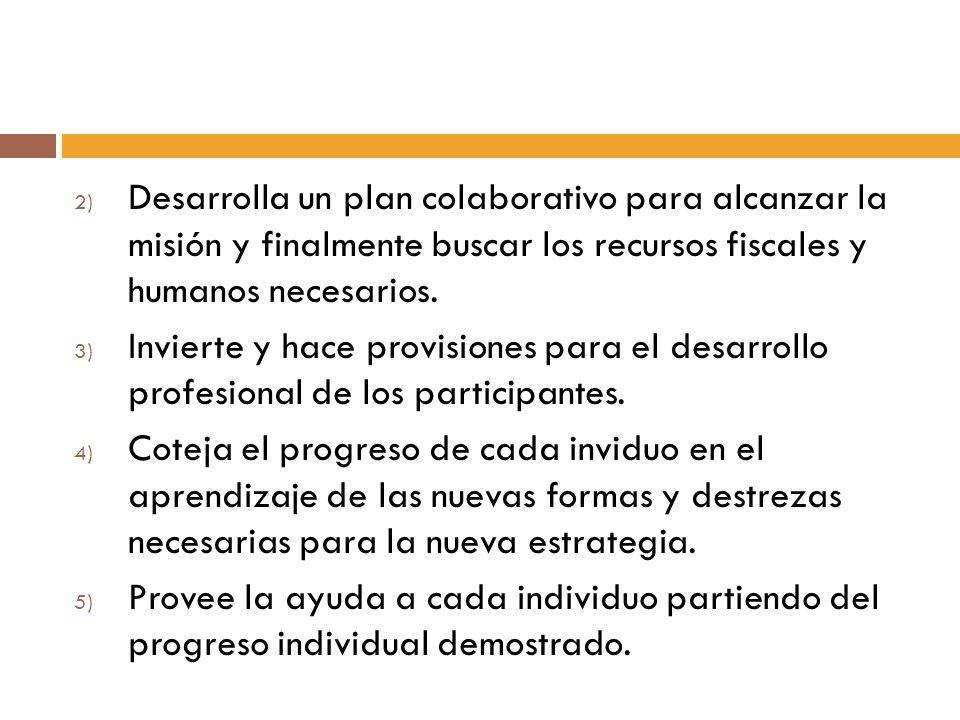 2) Desarrolla un plan colaborativo para alcanzar la misión y finalmente buscar los recursos fiscales y humanos necesarios. 3) Invierte y hace provisio