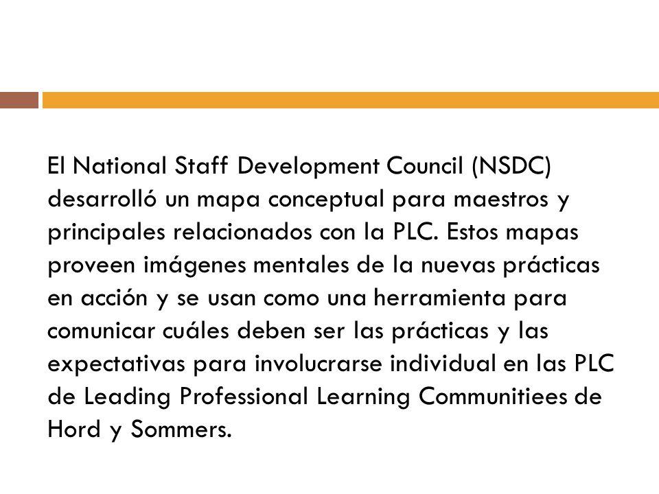El National Staff Development Council (NSDC) desarrolló un mapa conceptual para maestros y principales relacionados con la PLC. Estos mapas proveen im