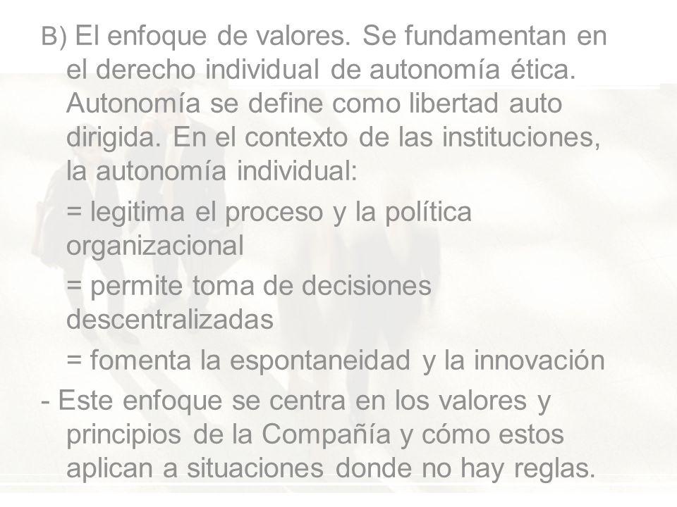 B) El enfoque de valores. Se fundamentan en el derecho individual de autonomía ética.