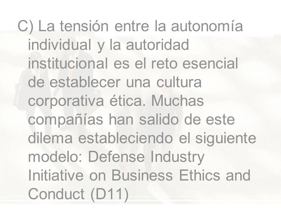 C) La tensión entre la autonomía individual y la autoridad institucional es el reto esencial de establecer una cultura corporativa ética.