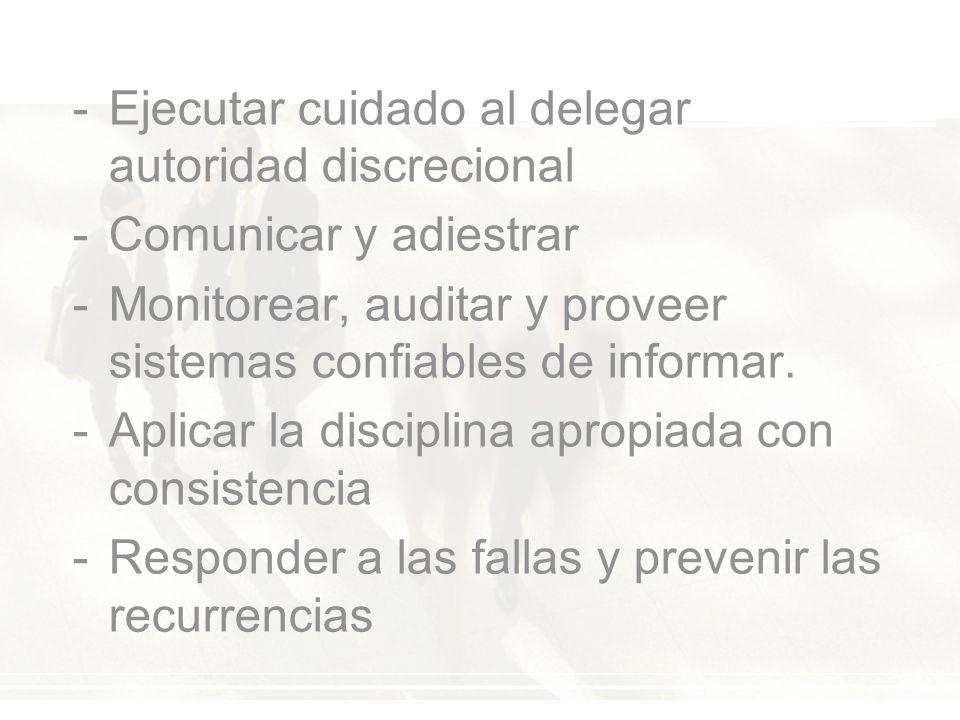 -Ejecutar cuidado al delegar autoridad discrecional -Comunicar y adiestrar -Monitorear, auditar y proveer sistemas confiables de informar.