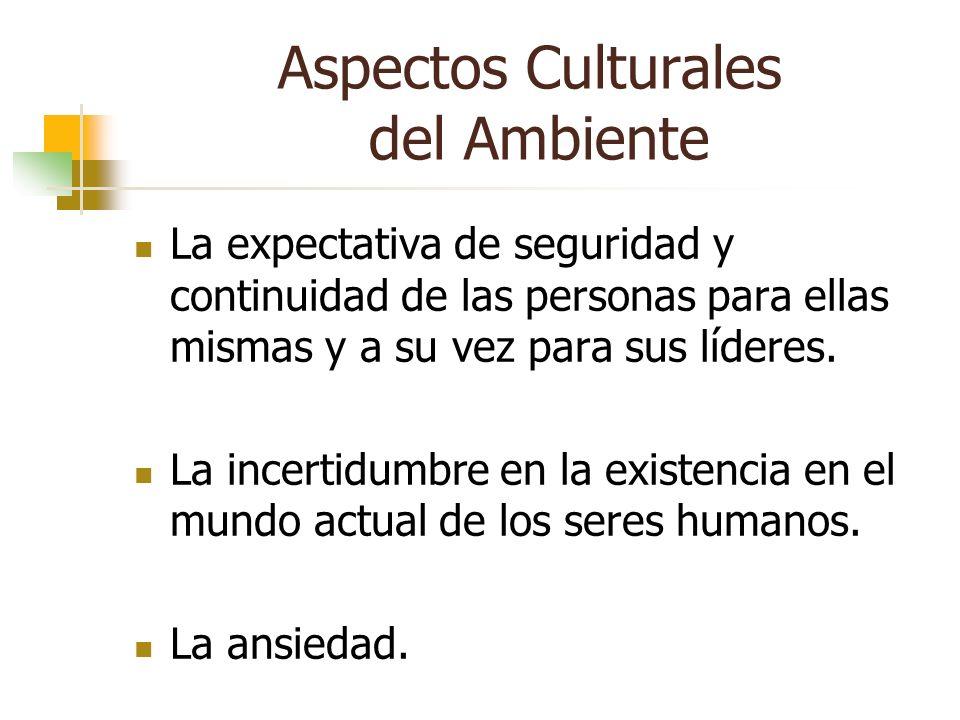 Aspectos Culturales del Ambiente La expectativa de seguridad y continuidad de las personas para ellas mismas y a su vez para sus líderes. La incertidu