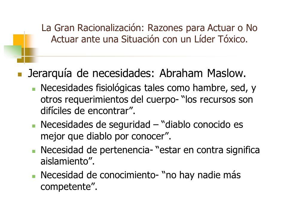 La Gran Racionalización: Razones para Actuar o No Actuar ante una Situación con un Líder Tóxico. Jerarquía de necesidades: Abraham Maslow. Necesidades