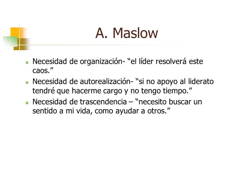 Necesidad de organización- el líder resolverá este caos. Necesidad de autorealización- si no apoyo al liderato tendré que hacerme cargo y no tengo tie