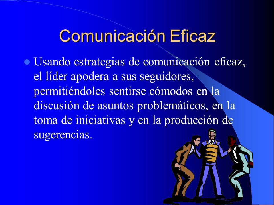 Comunicación Eficaz Usando estrategias de comunicación eficaz, el líder apodera a sus seguidores, permitiéndoles sentirse cómodos en la discusión de a