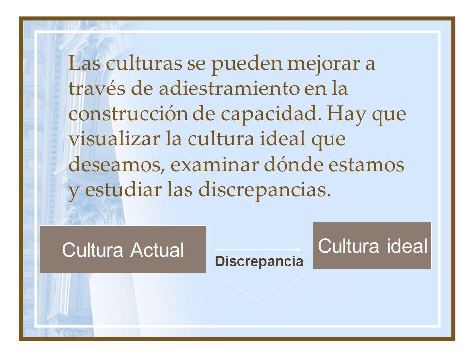 Las culturas se pueden mejorar a través de adiestramiento en la construcción de capacidad. Hay que visualizar la cultura ideal que deseamos, examinar