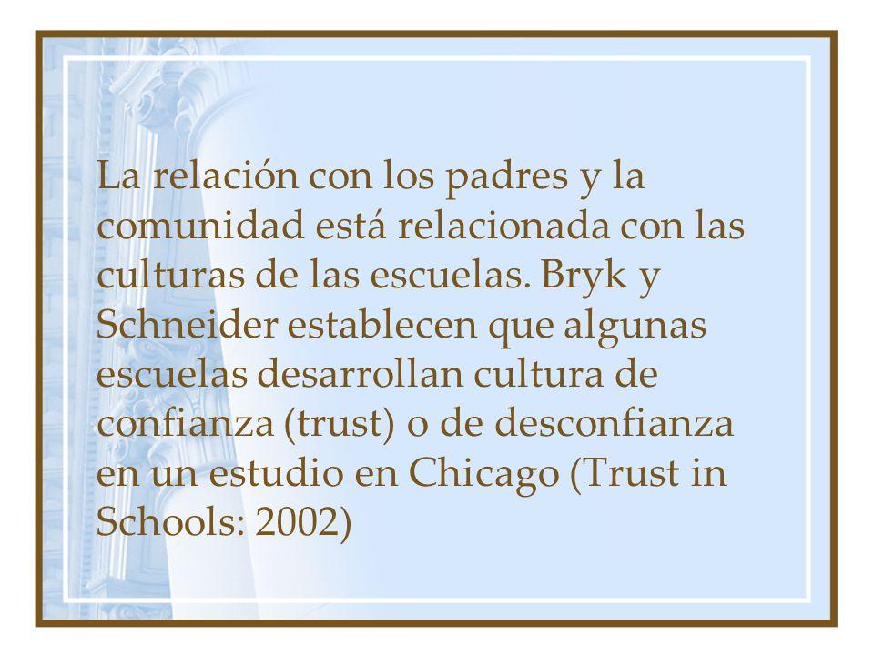 La relación con los padres y la comunidad está relacionada con las culturas de las escuelas. Bryk y Schneider establecen que algunas escuelas desarrol