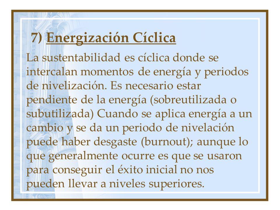 7) Energización Cíclica La sustentabilidad es cíclica donde se intercalan momentos de energía y periodos de nivelización. Es necesario estar pendiente