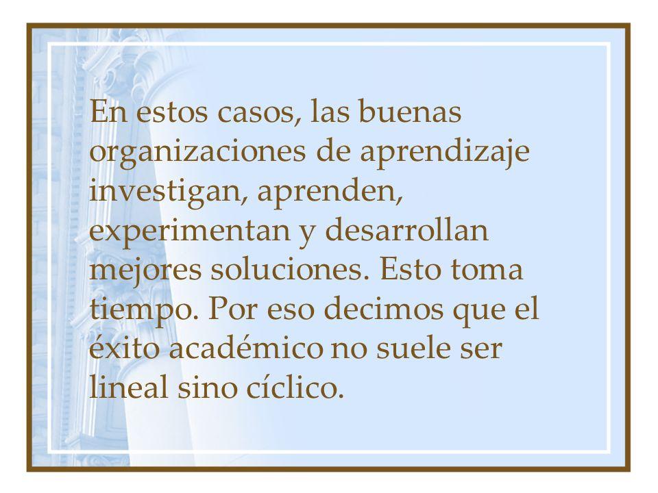 En estos casos, las buenas organizaciones de aprendizaje investigan, aprenden, experimentan y desarrollan mejores soluciones. Esto toma tiempo. Por es