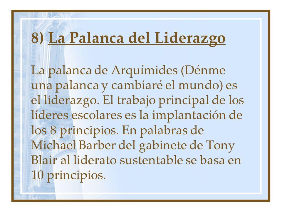 8) La Palanca del Liderazgo La palanca de Arquímides (Dénme una palanca y cambiaré el mundo) es el liderazgo. El trabajo principal de los líderes esco