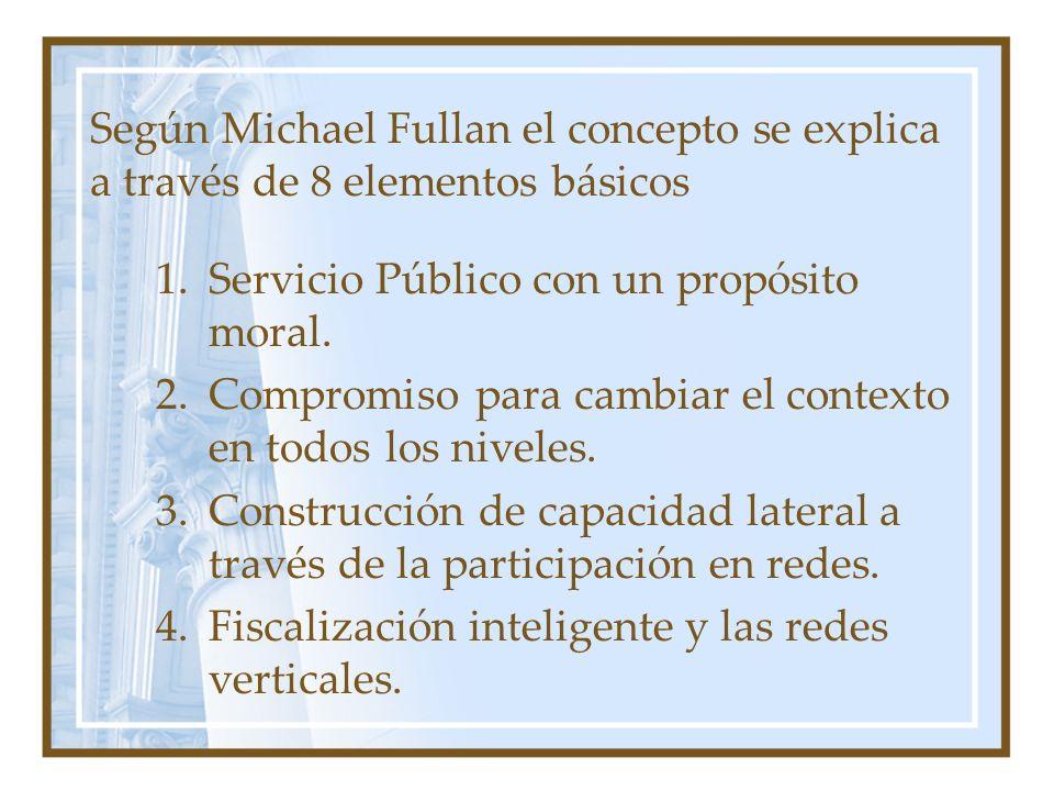 Según Michael Fullan el concepto se explica a través de 8 elementos básicos 1.Servicio Público con un propósito moral. 2.Compromiso para cambiar el co