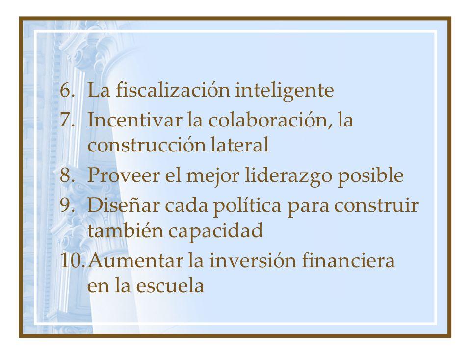 6.La fiscalización inteligente 7.Incentivar la colaboración, la construcción lateral 8.Proveer el mejor liderazgo posible 9.Diseñar cada política para
