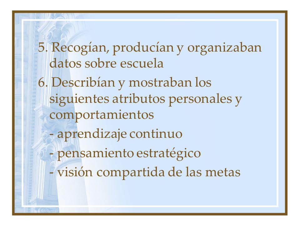 5. Recogían, producían y organizaban datos sobre escuela 6. Describían y mostraban los siguientes atributos personales y comportamientos - aprendizaje