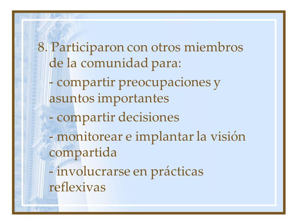 8. Participaron con otros miembros de la comunidad para: - compartir preocupaciones y asuntos importantes - compartir decisiones - monitorear e implan