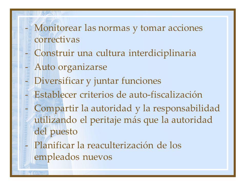 -Monitorear las normas y tomar acciones correctivas -Construir una cultura interdiciplinaria -Auto organizarse -Diversificar y juntar funciones -Estab
