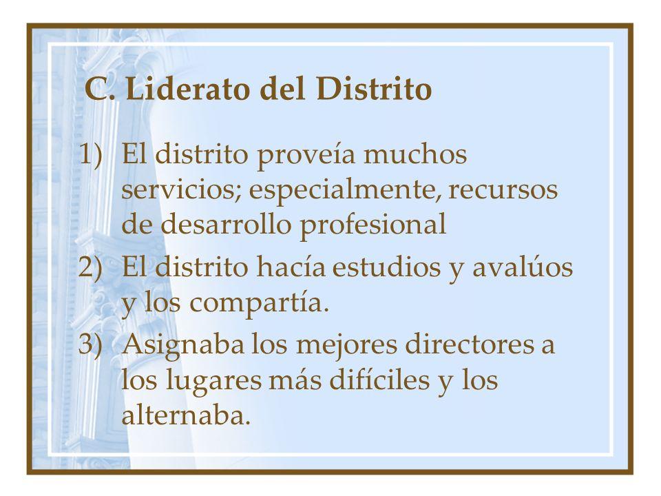 C. Liderato del Distrito 1)El distrito proveía muchos servicios; especialmente, recursos de desarrollo profesional 2)El distrito hacía estudios y aval