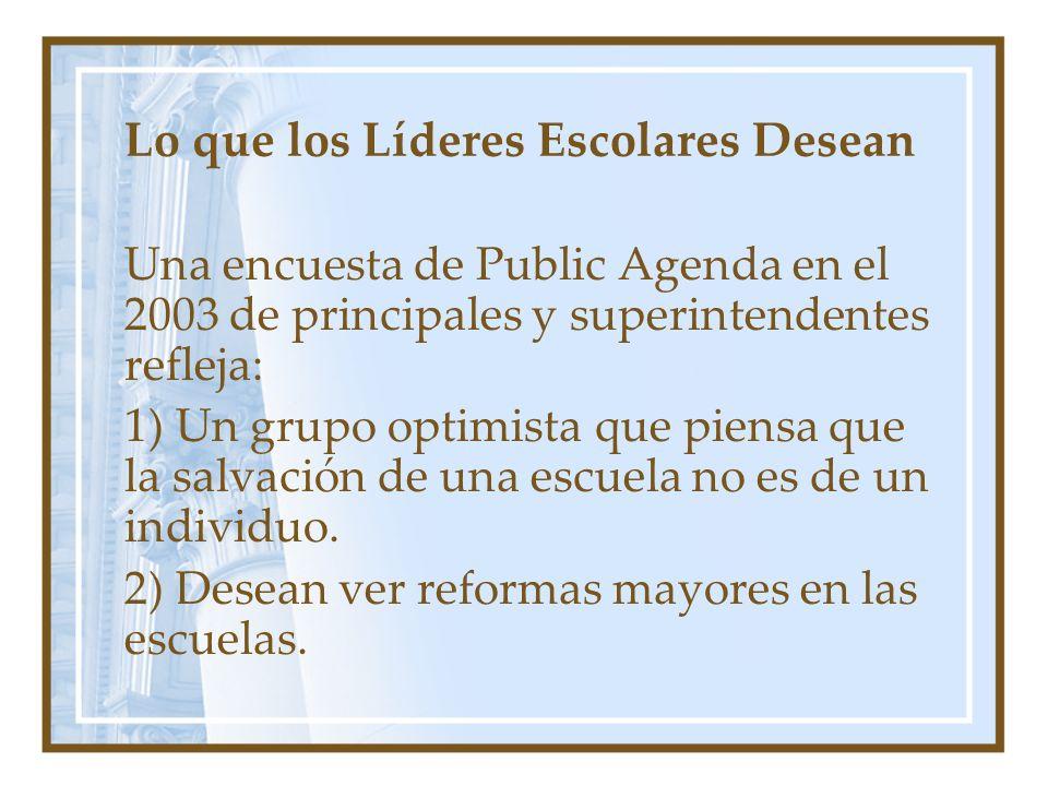 Lo que los Líderes Escolares Desean Una encuesta de Public Agenda en el 2003 de principales y superintendentes refleja: 1) Un grupo optimista que pien