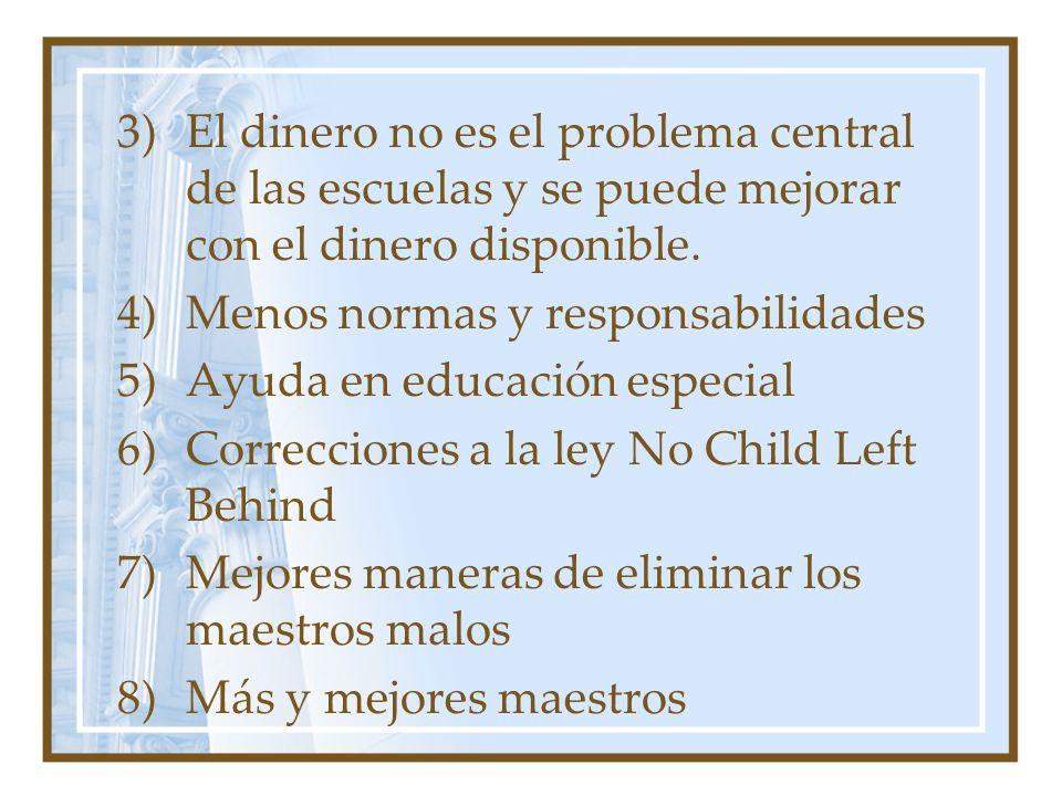 3)El dinero no es el problema central de las escuelas y se puede mejorar con el dinero disponible. 4)Menos normas y responsabilidades 5)Ayuda en educa