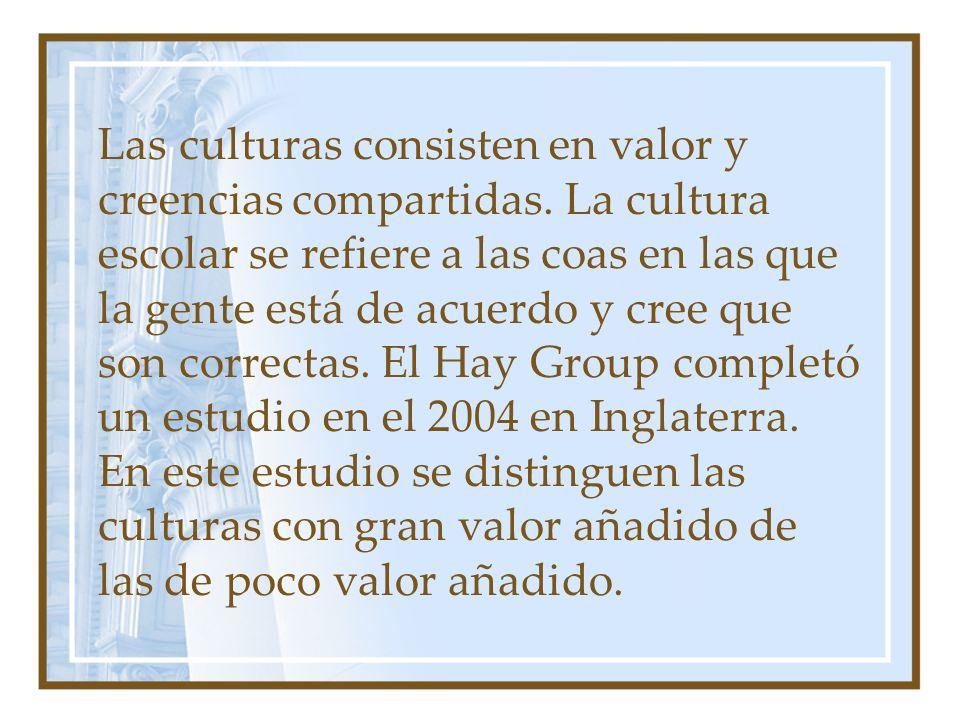 Las culturas consisten en valor y creencias compartidas. La cultura escolar se refiere a las coas en las que la gente está de acuerdo y cree que son c