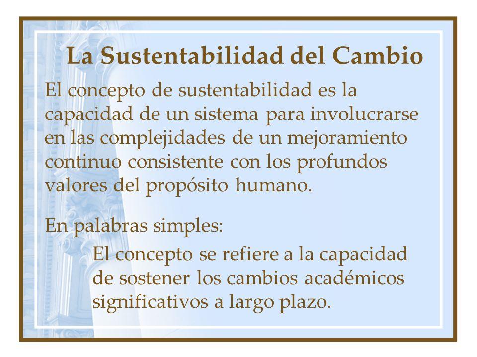 La Sustentabilidad del Cambio El concepto de sustentabilidad es la capacidad de un sistema para involucrarse en las complejidades de un mejoramiento continuo consistente con los profundos valores del propósito humano.