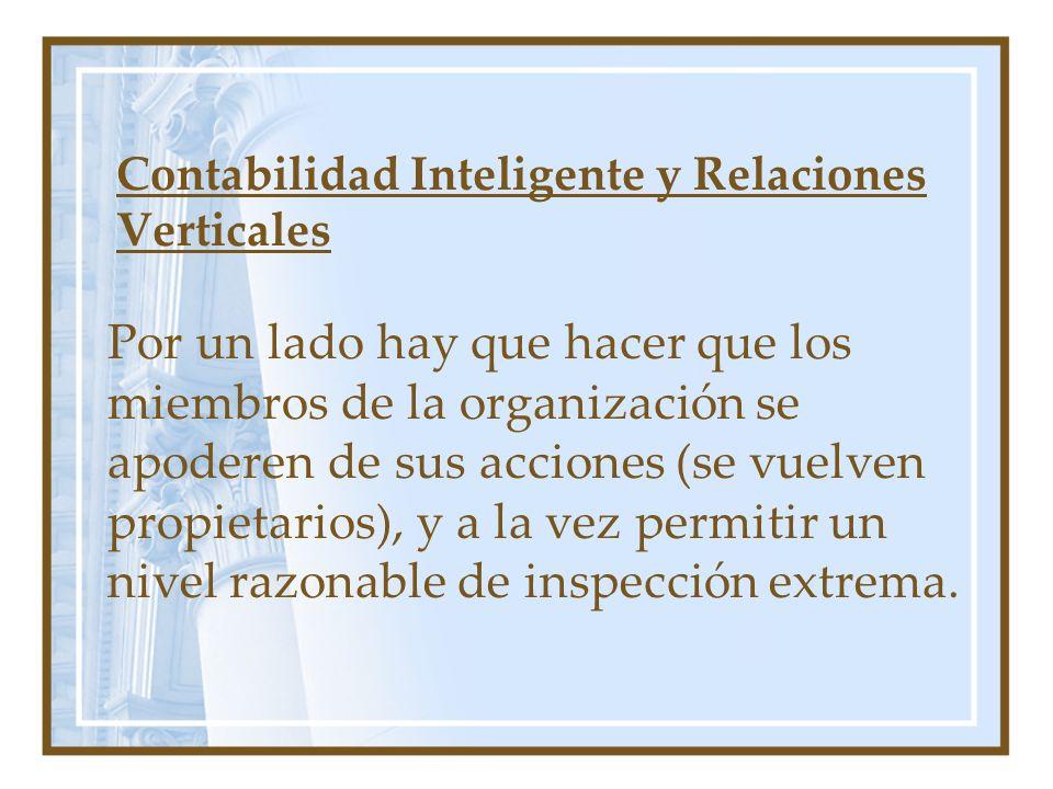 Contabilidad Inteligente y Relaciones Verticales Por un lado hay que hacer que los miembros de la organización se apoderen de sus acciones (se vuelven propietarios), y a la vez permitir un nivel razonable de inspección extrema.