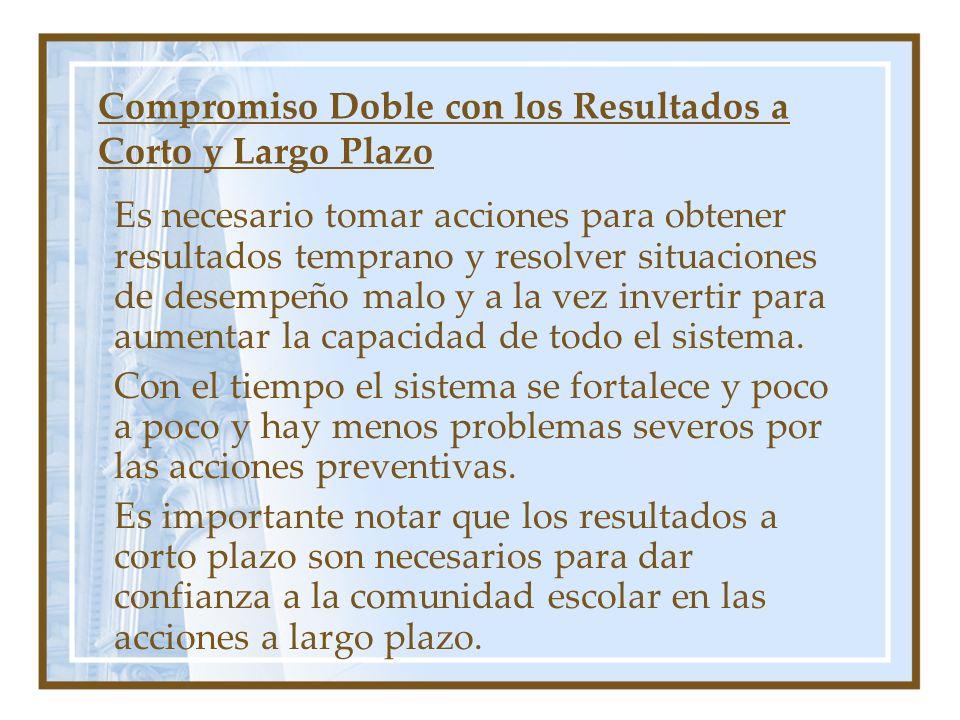 Compromiso Doble con los Resultados a Corto y Largo Plazo Es necesario tomar acciones para obtener resultados temprano y resolver situaciones de desempeño malo y a la vez invertir para aumentar la capacidad de todo el sistema.