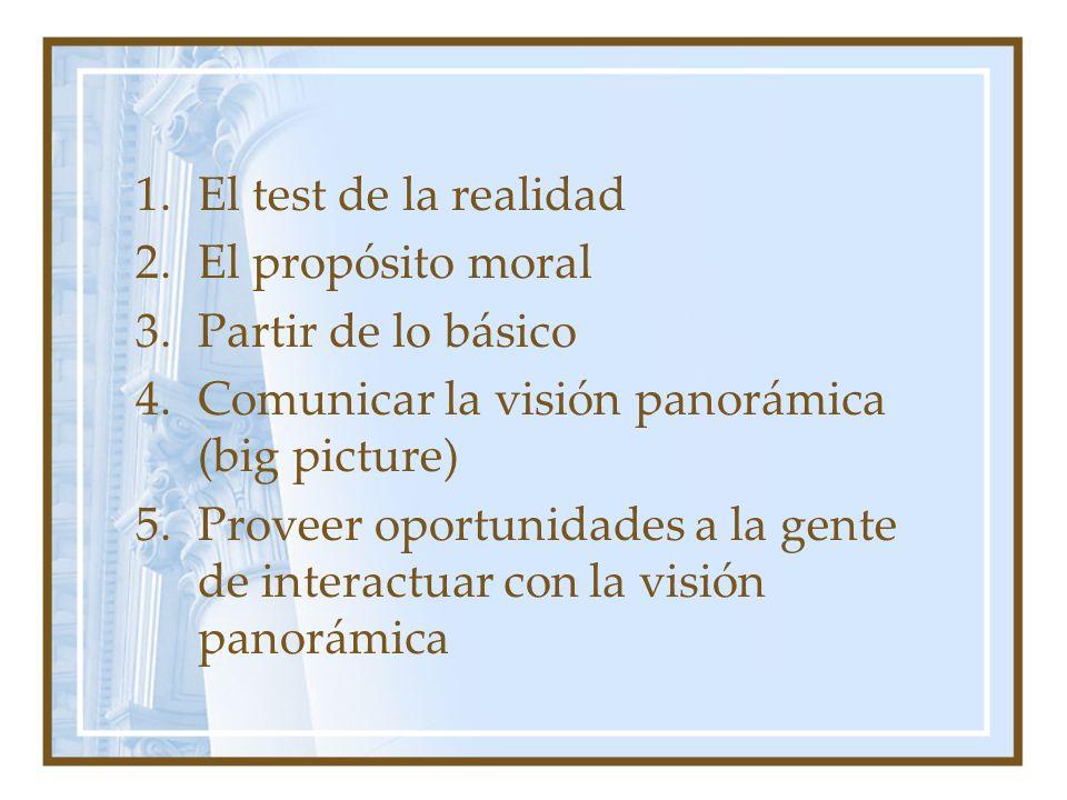 1.El test de la realidad 2.El propósito moral 3.Partir de lo básico 4.Comunicar la visión panorámica (big picture) 5.Proveer oportunidades a la gente de interactuar con la visión panorámica