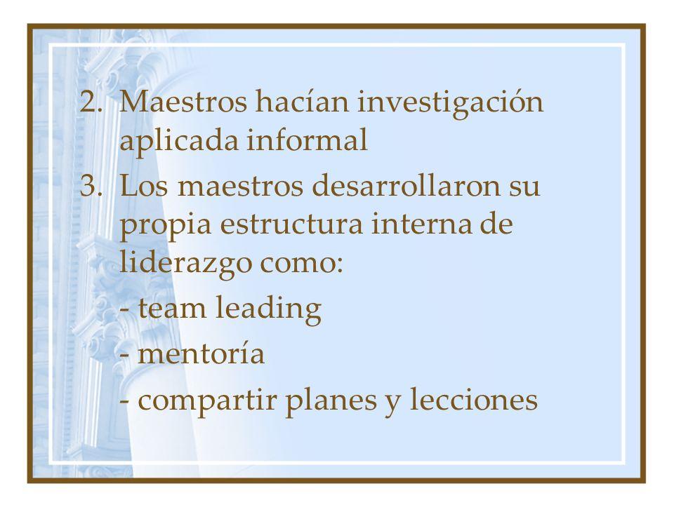 2.Maestros hacían investigación aplicada informal 3.Los maestros desarrollaron su propia estructura interna de liderazgo como: - team leading - mentoría - compartir planes y lecciones