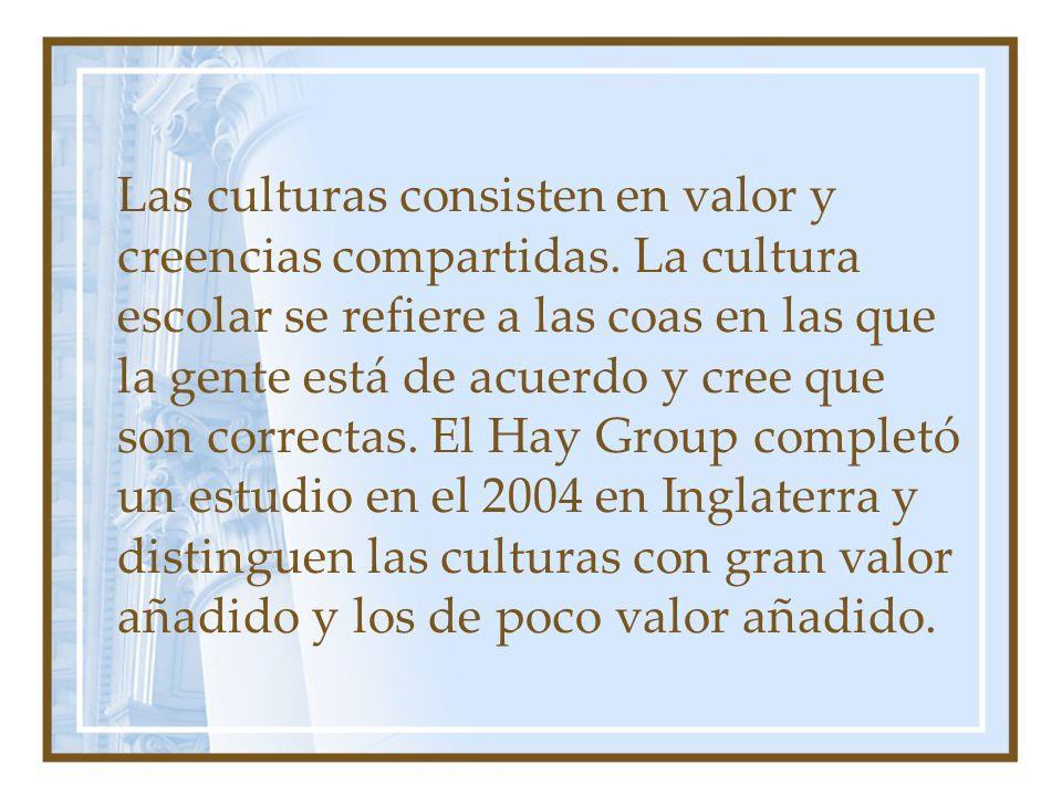 Las culturas consisten en valor y creencias compartidas.