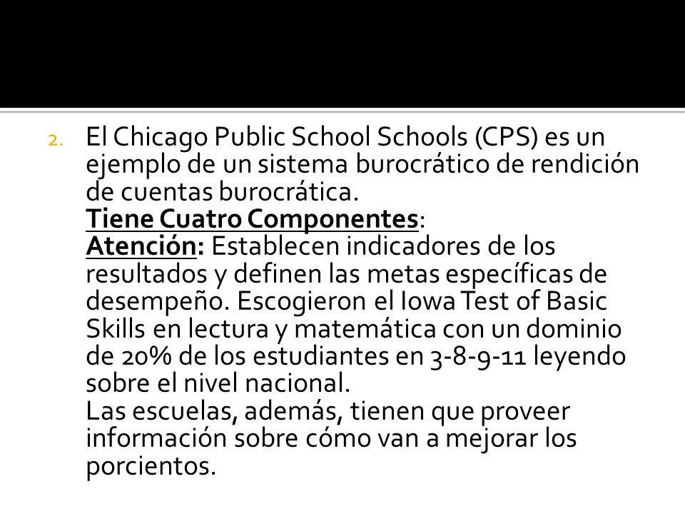 2. El Chicago Public School Schools (CPS) es un ejemplo de un sistema burocrático de rendición de cuentas burocrática. Tiene Cuatro Componentes: Atenc