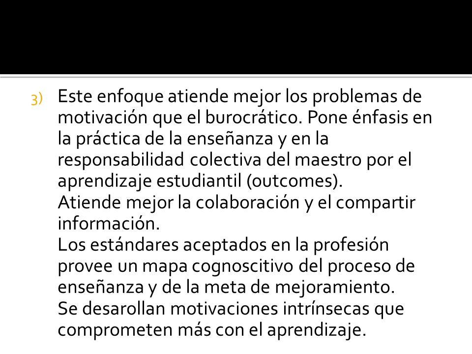 3) Este enfoque atiende mejor los problemas de motivación que el burocrático.