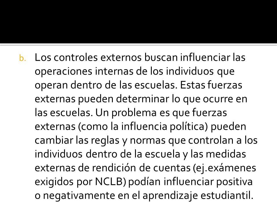 b. Los controles externos buscan influenciar las operaciones internas de los individuos que operan dentro de las escuelas. Estas fuerzas externas pued
