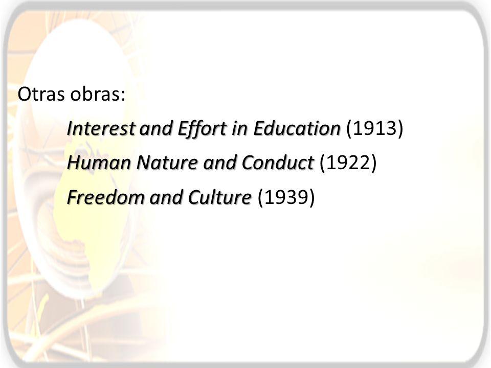 Otras obras: Interest and Effort in Education Interest and Effort in Education (1913) Human Nature and Conduct Human Nature and Conduct (1922) Freedom