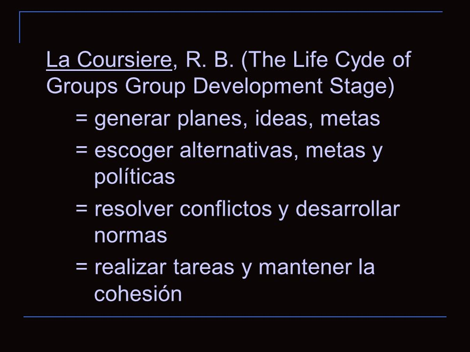 La Coursiere, R. B. (The Life Cyde of Groups Group Development Stage) = generar planes, ideas, metas = escoger alternativas, metas y políticas = resol