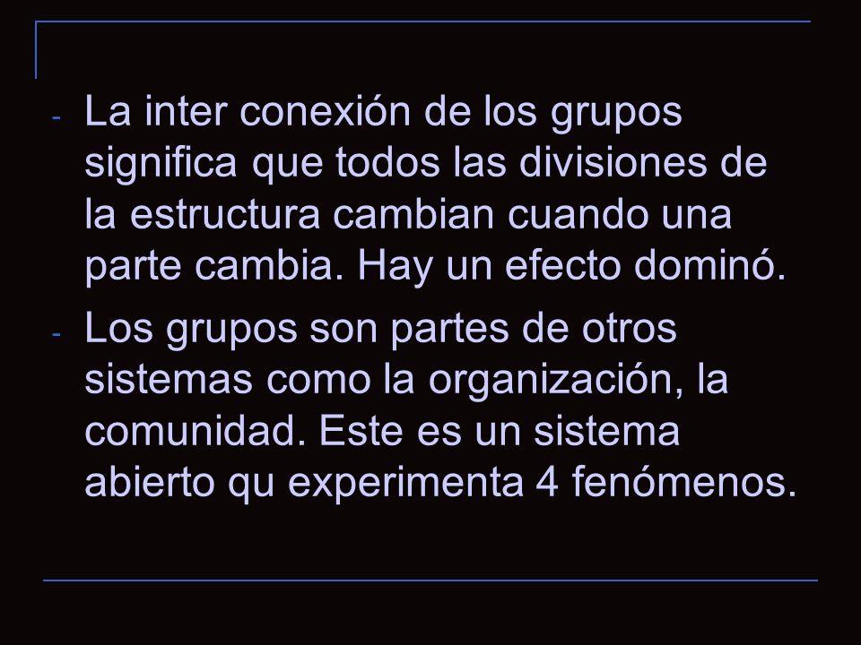 - La inter conexión de los grupos significa que todos las divisiones de la estructura cambian cuando una parte cambia.