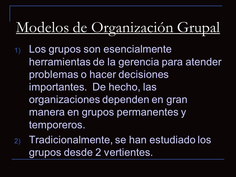 Modelos de Organización Grupal 1) Los grupos son esencialmente herramientas de la gerencia para atender problemas o hacer decisiones importantes.
