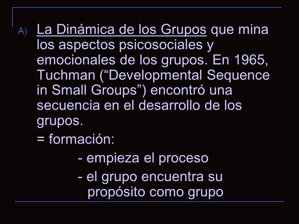 A) La Dinámica de los Grupos que mina los aspectos psicosociales y emocionales de los grupos.