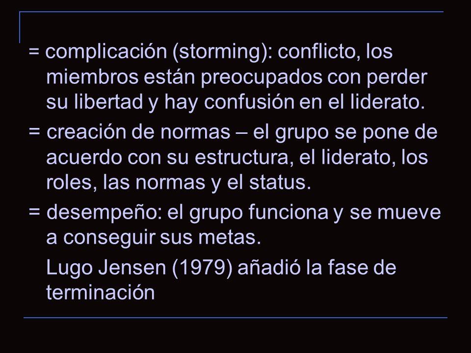 = complicación (storming): conflicto, los miembros están preocupados con perder su libertad y hay confusión en el liderato.