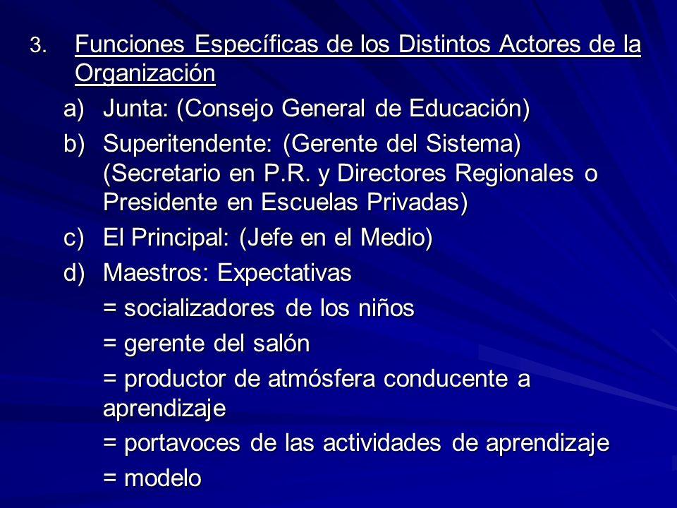 3. Funciones Específicas de los Distintos Actores de la Organización a)Junta: (Consejo General de Educación) b)Superitendente: (Gerente del Sistema) (