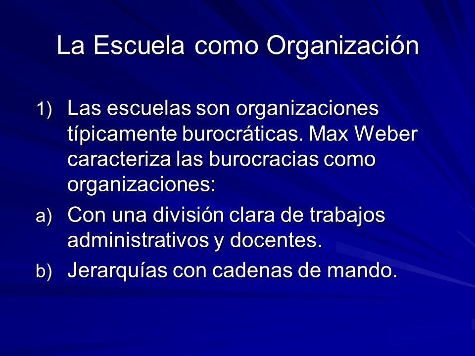 La Escuela como Organización 1) Las escuelas son organizaciones típicamente burocráticas.