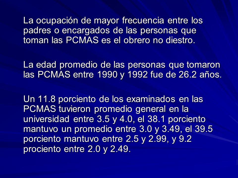 La ocupación de mayor frecuencia entre los padres o encargados de las personas que toman las PCMAS es el obrero no diestro.