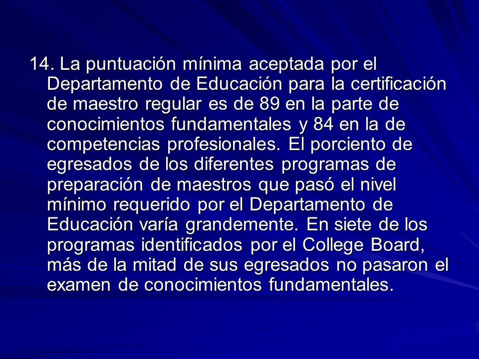 14. La puntuación mínima aceptada por el Departamento de Educación para la certificación de maestro regular es de 89 en la parte de conocimientos fund