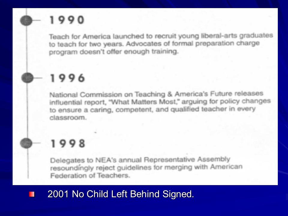 2001 No Child Left Behind Signed. 2001 No Child Left Behind Signed.