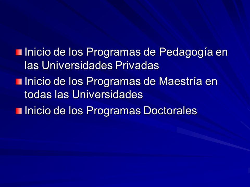 Inicio de los Programas de Pedagogía en las Universidades Privadas Inicio de los Programas de Maestría en todas las Universidades Inicio de los Programas Doctorales