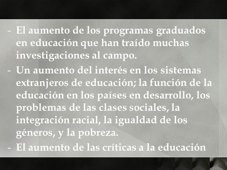 - El aumento de los programas graduados en educación que han traído muchas investigaciones al campo. - Un aumento del interés en los sistemas extranje