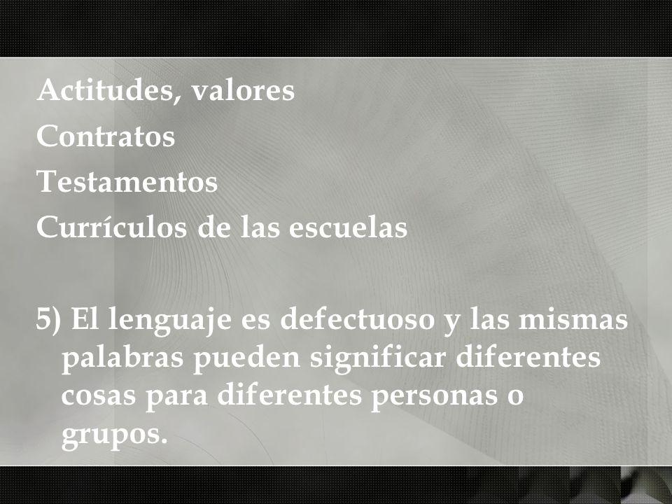 Actitudes, valores Contratos Testamentos Currículos de las escuelas 5) El lenguaje es defectuoso y las mismas palabras pueden significar diferentes co